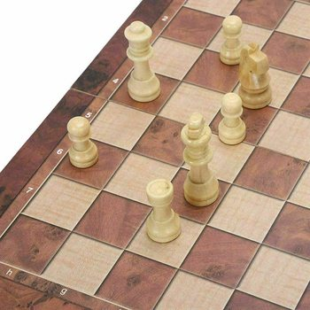 3 in 1 Kids Family Game Chess Board Folding Set Wooden Backgammon Checkers  Chessboard Pieces Chessman