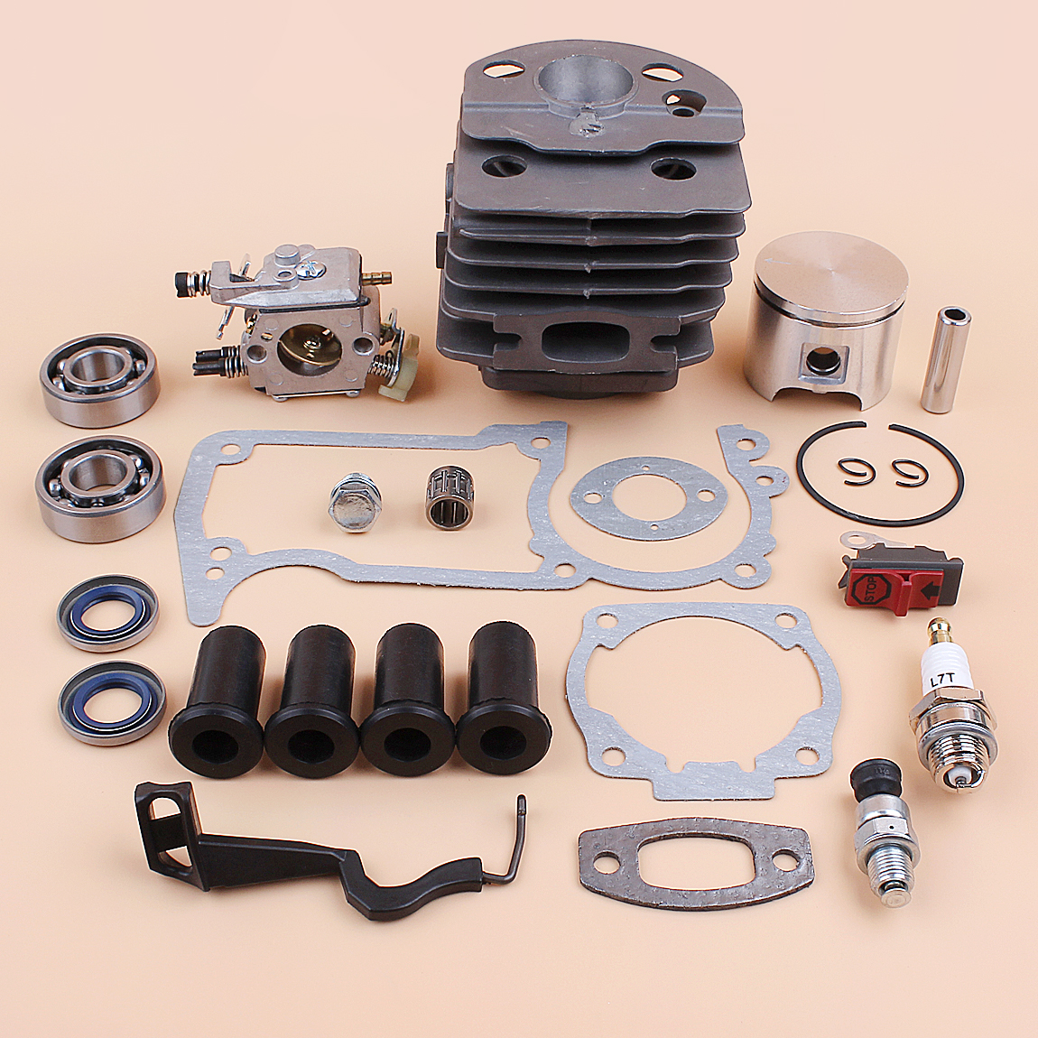 Tools : 46MM Cylinder Piston Carburetor AV Buffer Choke Rod Gaskets Kit For Husqvarna 55 51 Chainsaw Compression Release Value Plug