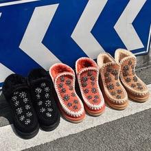 2020 nowe zimowe buty damskie śniegowe buty krowa zamszowa kryształowa dekoracja utrzymuj ciepłe botki damskie buty bottes femme