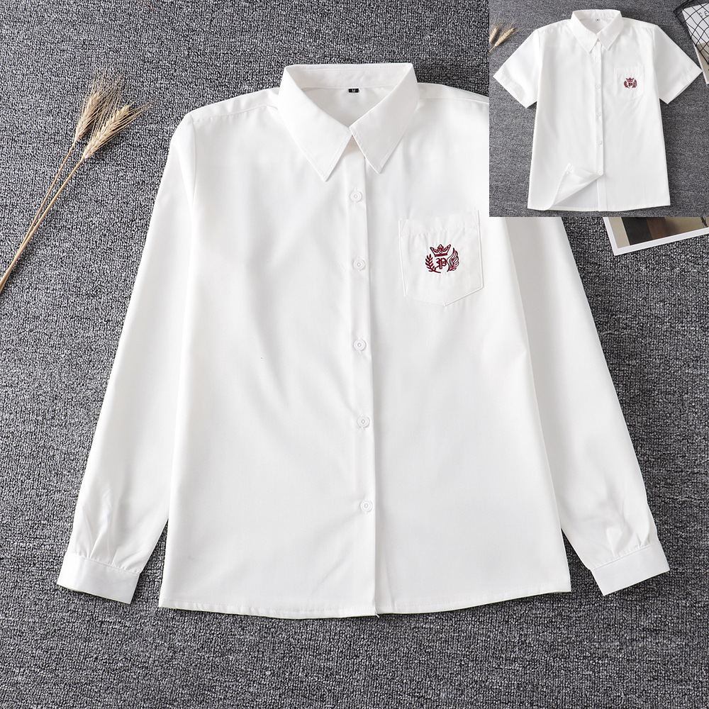 Hot Korean School Uniform Girls Long Sleeve Shirt For Women Japanese School Uniform Cotton White Shirt Embroidery Crown Pattern