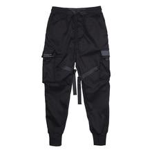 Erkek kargo pantolon siyah Streetwear şeritler blok çok cep 2021 Harem Joggers Harajuku Sweatpant Hip Hop rahat erkek pantolon