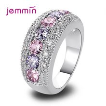 Multi Cubic Zircon Stone Mirco Inlay 925 Sterling Silver Band Rings Circle Chunky Statement Jewelry for Women Cocktail Party(China)