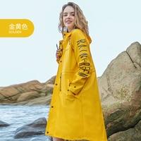 Women Yellow Rain Poncho Waterproof Reusable Raincoat Cover Fashion Impermeable Wet Weather Gear Veste Pluie Rain coat EB50YY