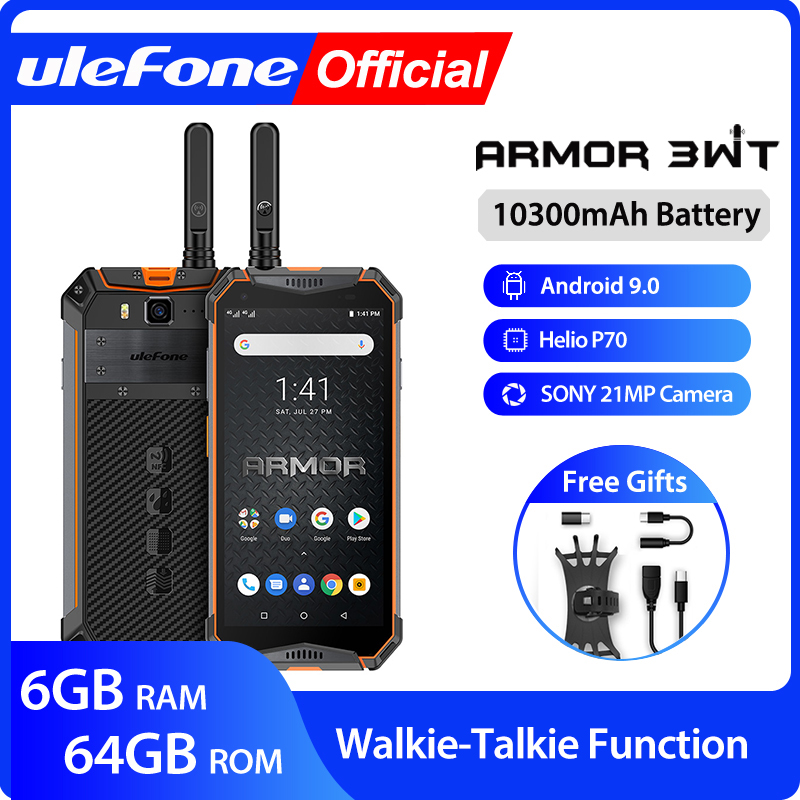 Ulefone Armor 3WT Walkie-Talkie Rugged Mobile Phone 2.4G/5G WiFi Android 9.0  6GB 64GB 10300mAh  NFC 4G Globalvision Smarphone 1