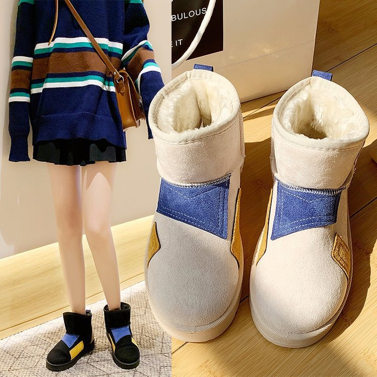 Snow boots female 2019 winter new suede color matching boots thickened low-heeled flat non-slip warm women's boots 73