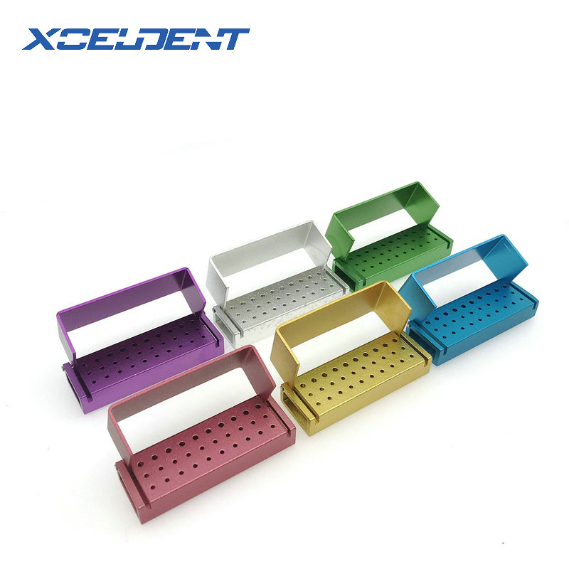 30 Holes Aluminium Dental Burs Holder Block Dental Disinfection Box 20 Holes For High Speed Burs And 10 Holes For RA Burs