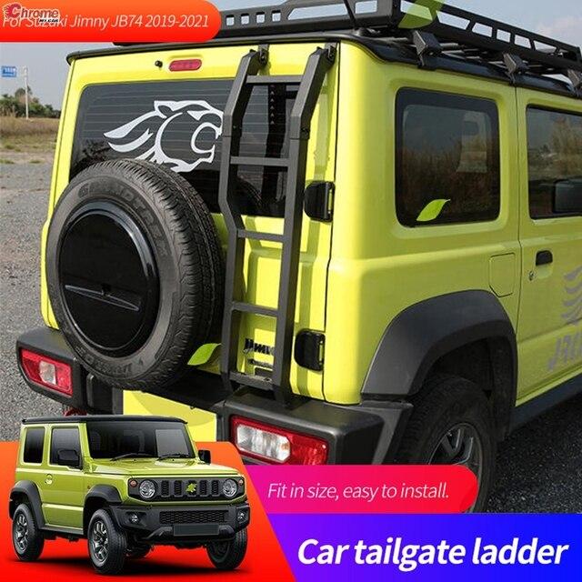 Auto Zubehör Hinten Tür Heckklappe Leiter Stamm Klettern Schutz Rahmen Für Suzuki Jimny JB64W JB74W 2019 2020 2021 Aluminium