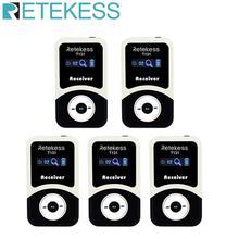 5 unidades de receptores inalámbricos RETEKESS T131 para sistema de guía de viaje inalámbrico para traducción de Iglesia reunión de entrenamiento de filmación