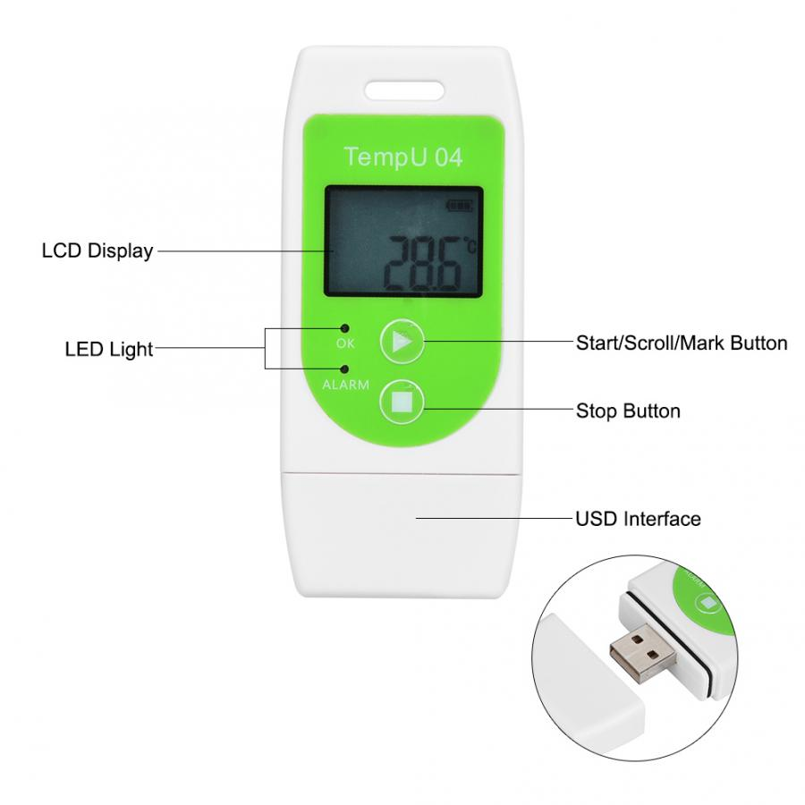TempU04 PDF USB Temperature Data Logger Reusable Temperature and Humidity Recorder TempU04 Temperature Humidity Logger
