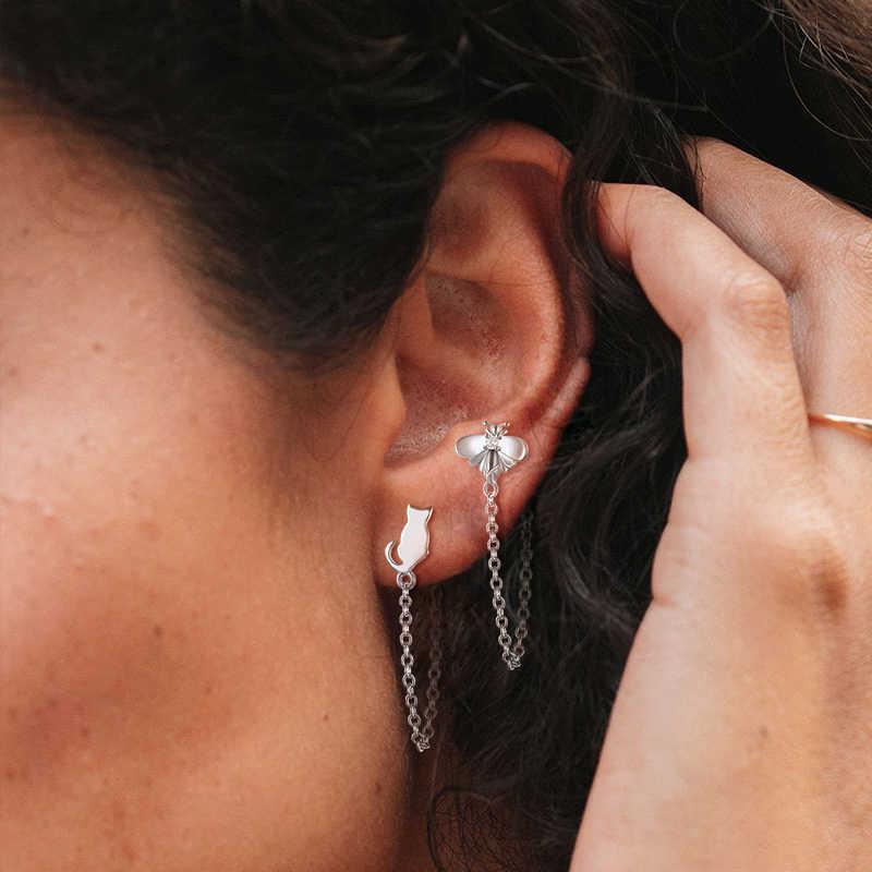 1 stücke 100% 925 Sterling Silber ohrring kette Bee schnee leopard Mond Sterne Stud Ohrringe für Frauen Kristall Zirkon Kette schmuck A30