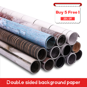 'Buy 5 Free 1' Double Sided Photography Wood Cement Backdrops Waterproof Marble Texture Background Paper For Food Jewelry Toy