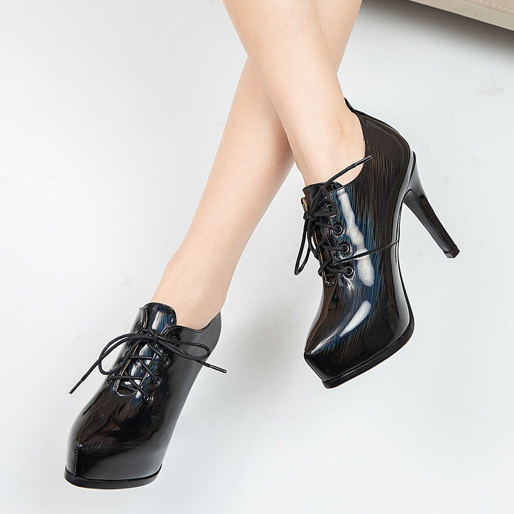 DORATASIA zarif ofis kız bahar dantel Up platformu yüksek topuk pompaları pompaları kadın siyah rahat özlü sivri burun ayakkabı kadın