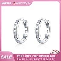Boucles d'oreilles WOSTU cristal cercle 925 en argent Sterling Style coréen Zircon boucles d'oreilles pour femmes de mariage minimaliste bijoux CTE101