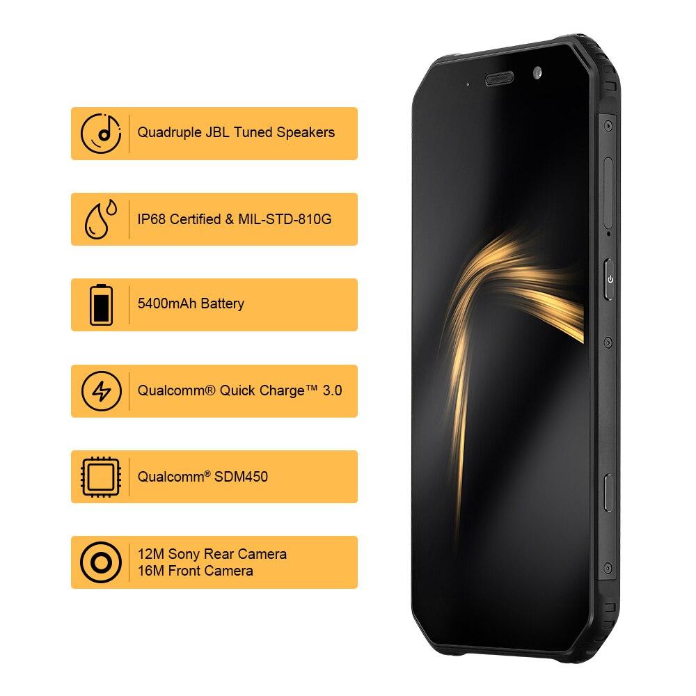 AGM A9 5.99 pouces 18:9 robuste IP68 téléphone portable qal-comm Octa Core téléphone intelligent 4GB + 64GB étanche téléphone portable Charge rapide 3.0
