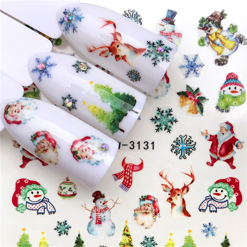 1 Sheet Christmas Elk Bell Santa Claus Nail Sticker Full Wraps Water Transfer Sticker Nail Art Decals Manicure Styling Xmas Gift