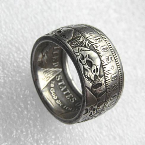 90% SILVER 1896 MORGAN DOLLAR SKULL RINGS