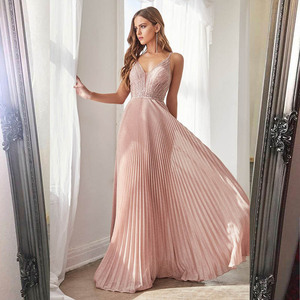 Image 1 - Collection 2020 Sexy Pink Long Prom Dresses Straps Spaghetti Beaded Pleats Formal Evening Gown Party Dress Backless In Stock