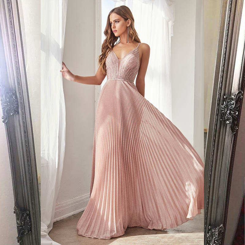 Collection 2020 Sexy Pink Long Prom Dresses Straps Spaghetti Beaded Pleats Formal Prom Gown Party Dress Backless