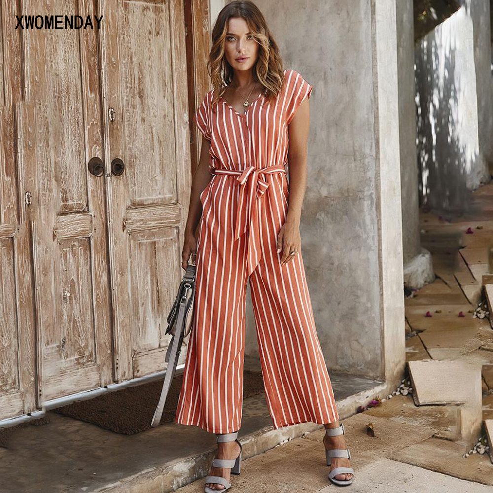 Summer Rompers Womens Jumpsuit Casual Striped Short-sleeved Top Wide Leg Pant Clothes One Piece Overalls Black Pink 2020 Fashion