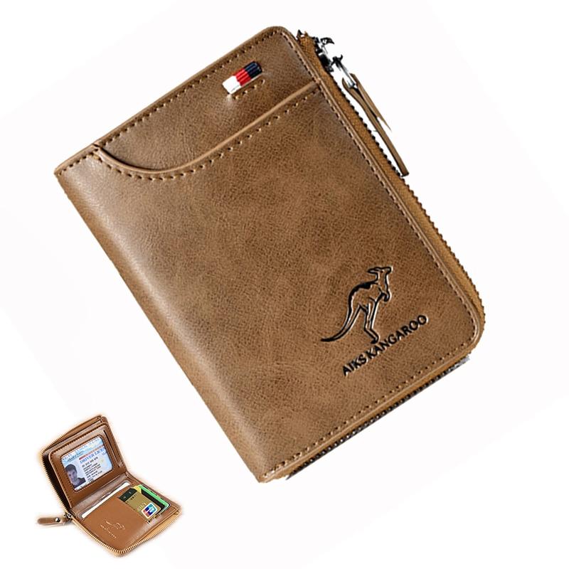 2020 New Men Wallets Fashion Short Desigh Zipper Card Holder Men Leather Purse Solid Coin Pocket High Quality Male Purse 1