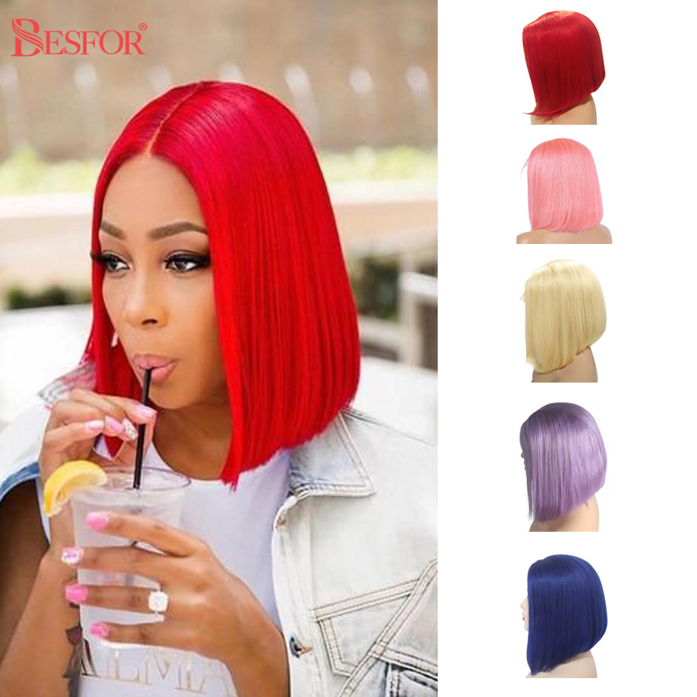 Kolorowe włosy ludzkie w kolorze blond pełna maszyna wykonana Bob peruki Glueless 180% gęstość prosto bez koronki krótki przód Cut peruka dla czarnych kobiet