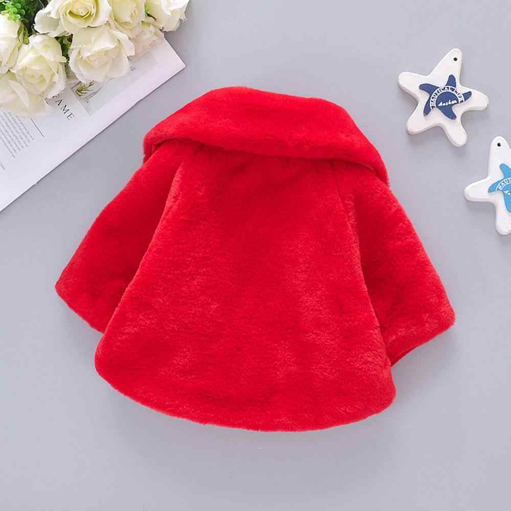 Toddler Girls Winter Cartoon Faux Fur Cape Windproof Coat Warm Cloak Jacket Moent Baby Cloak Coat