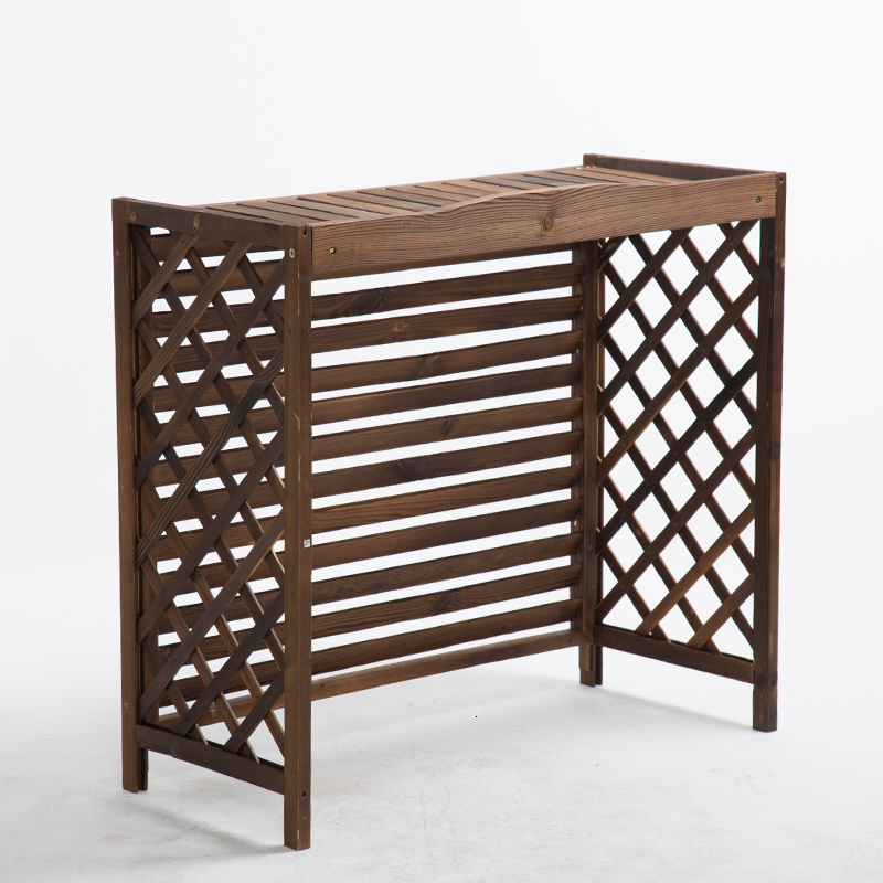 Decorate Hundred Leaf Preservation Wood Air Conditioner Outer Casing Outdoors Woodiness Grid Shelf Air Machine Flower Rack