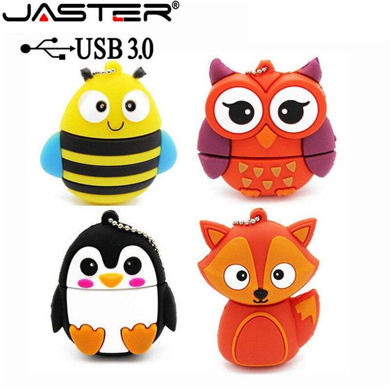 JASTER USB 3.0 HOT Penguin Owl Fox Pen Drive Cartoon Usb Flash Drive Pendrive 4GB 16GB 32GB 64GB U Disk Animal Memory Stick Gift