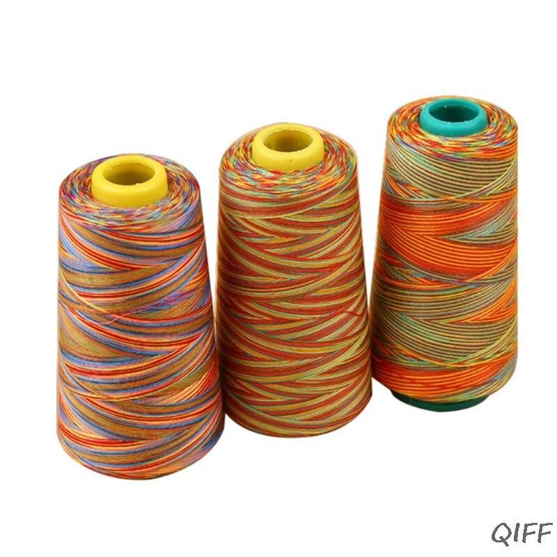 3000 Yards Graident Rainbow Polyester Embroidery Sewing Thread Stitching Yarn