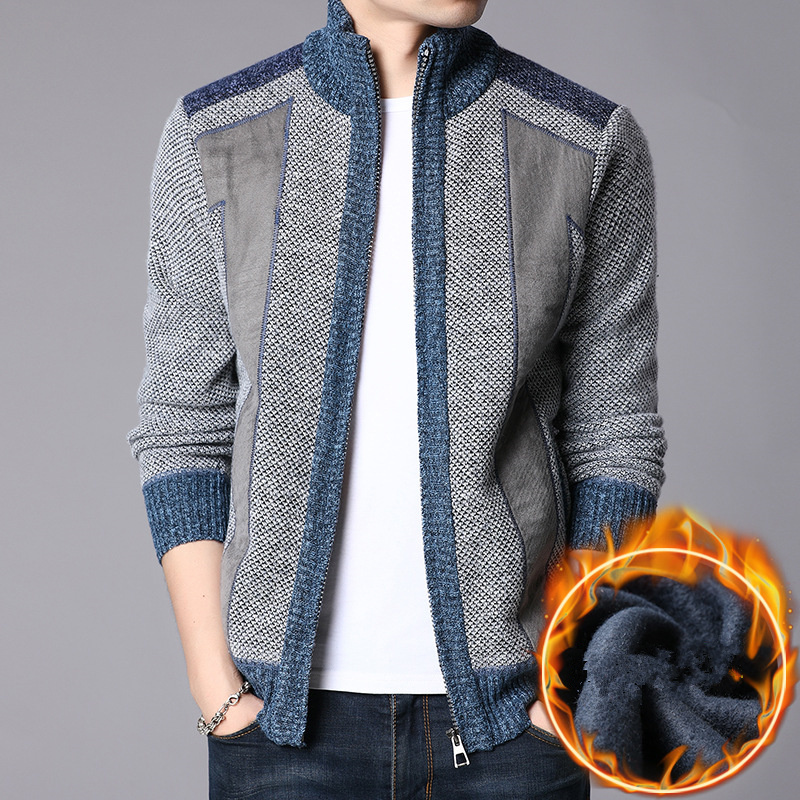 2019 Brand Clothing Men Thick New Fashion Business Casual Sweater Cardigan Male Slim Knitwear Outwear Warm Winter Knit Sweater