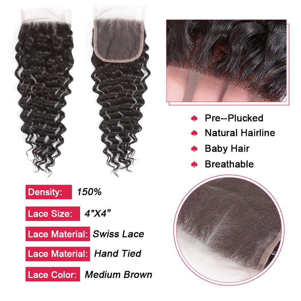 Koningin Haar Diepe Golf Braziliaanse Human Hair Weave Lace Sluiting Met Baby Haar Kan Mix 3 Bundels Voor een Volledige Hoofd remy Haar Sluitingen