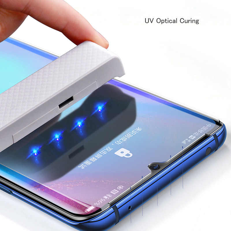 Vidrio Templado UV para Samsung S8 S9 S10 E Plus pegamento líquido completo película protectora de pantalla para Samsung Galaxy Note 8 9 10 Plus