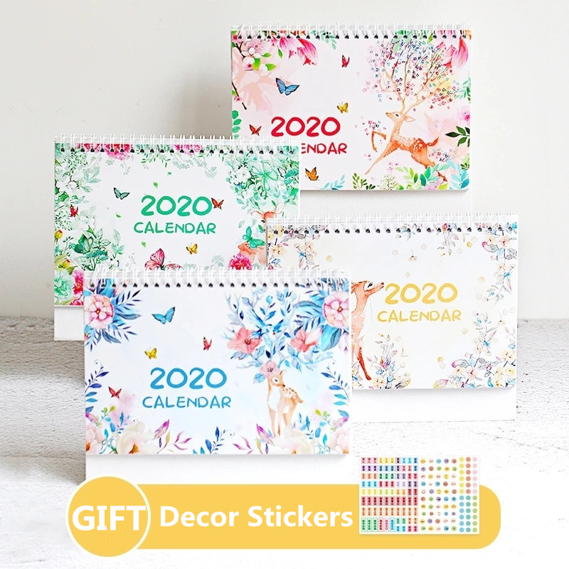 2020 Lovely Deer And Flowers Calendar Ancient Style DIY Desk Calendars Daily Schedule Planner 2019.09~2020.12
