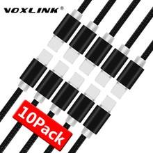 Voxlink 8 핀 usb 케이블 10 팩 알루미늄 합금 나일론 꼰 와이어 충전 케이블 충전기 코드 아이폰 7,7 플러스, 6 s 플러스