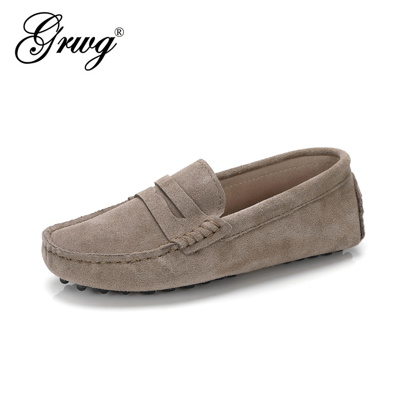 GRWG Shoes Women Genuine Leather Spring Flat Shoes Casual Loafers Slip On Women's Flats Shoes Moccasins Lady Driving Shoes