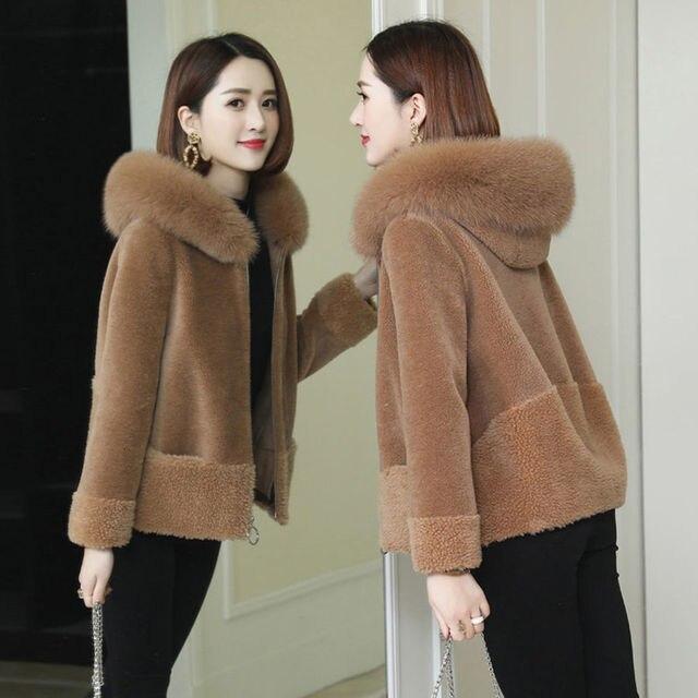 Giacca da donna in pelliccia di montone imitazione giacca invernale nuova pelliccia di volpe una pelliccia sciolta
