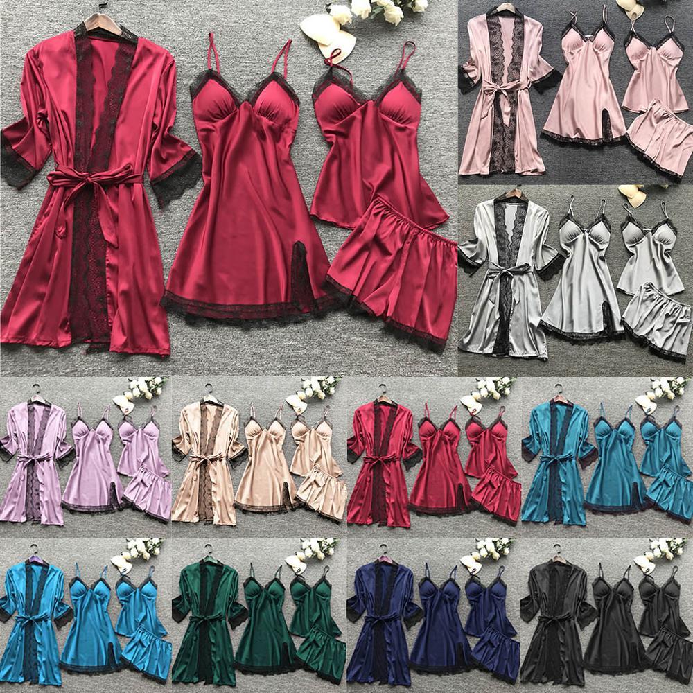 4PC Sexy Lingerie Pijama Silk Lace Pyjamas Women Robe Babydoll Sleepwear Sexo Nightdress Solid Underwear Pajamas Plus Size S-3XL