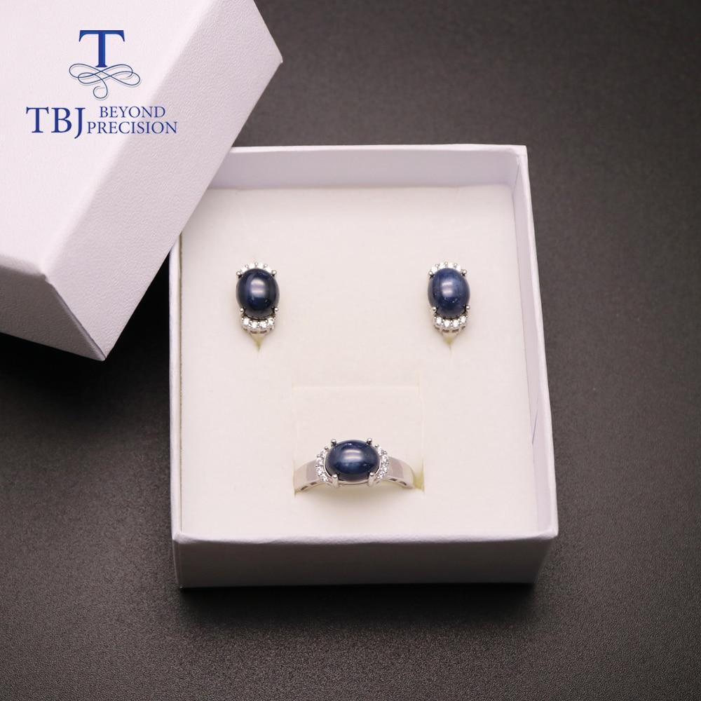 TBJ, natürliche edelstein saphir schmuck set Ringe und ohrringe 925 silber edlen schmuck für frauen partei tragen einfache design 2020 - 6