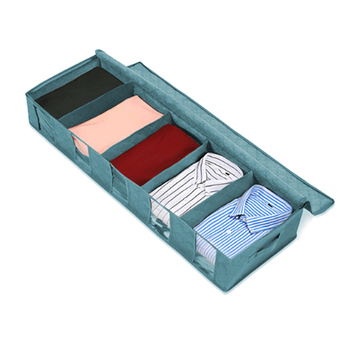 Space Saving and Folding Clothes Storage Box with Compartments Can be Placed Under Bed