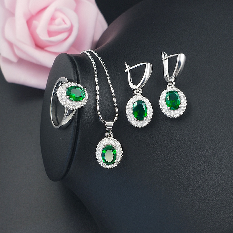 GZJY Women Colorful Crystal 925 Silver Jewelry Sets Crystal Drop Earrings Necklace Pendant Ring Sets for Christmas Party Gift(China)