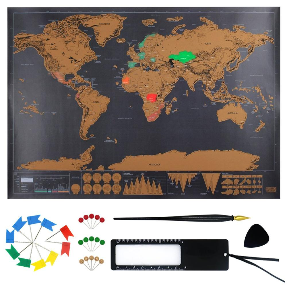 Scratch Off World Map Mini Size 11.8x17 Inch Gold Foil Layer With Poster Hanging Kit Room Home Office Decoration Wall Stickers