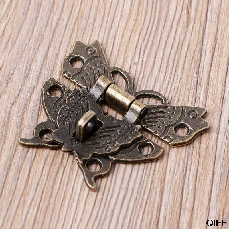 DROP Kapal & Grosir Retro Vintage Kupu-kupu Latch Pengait Kayu Kotak Perhiasan Box Kunci Pad Dada Lock Agustus 16