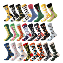 pair men socks combed cotton cartoon animal bird shark zebra corn watermelon sea food geometric novelty funny socks dress socks