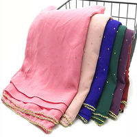 Hot sale fancy Diamond chain hijabs Women bubble Chiffon crystal scarf shawl echarpe 19pcs/set