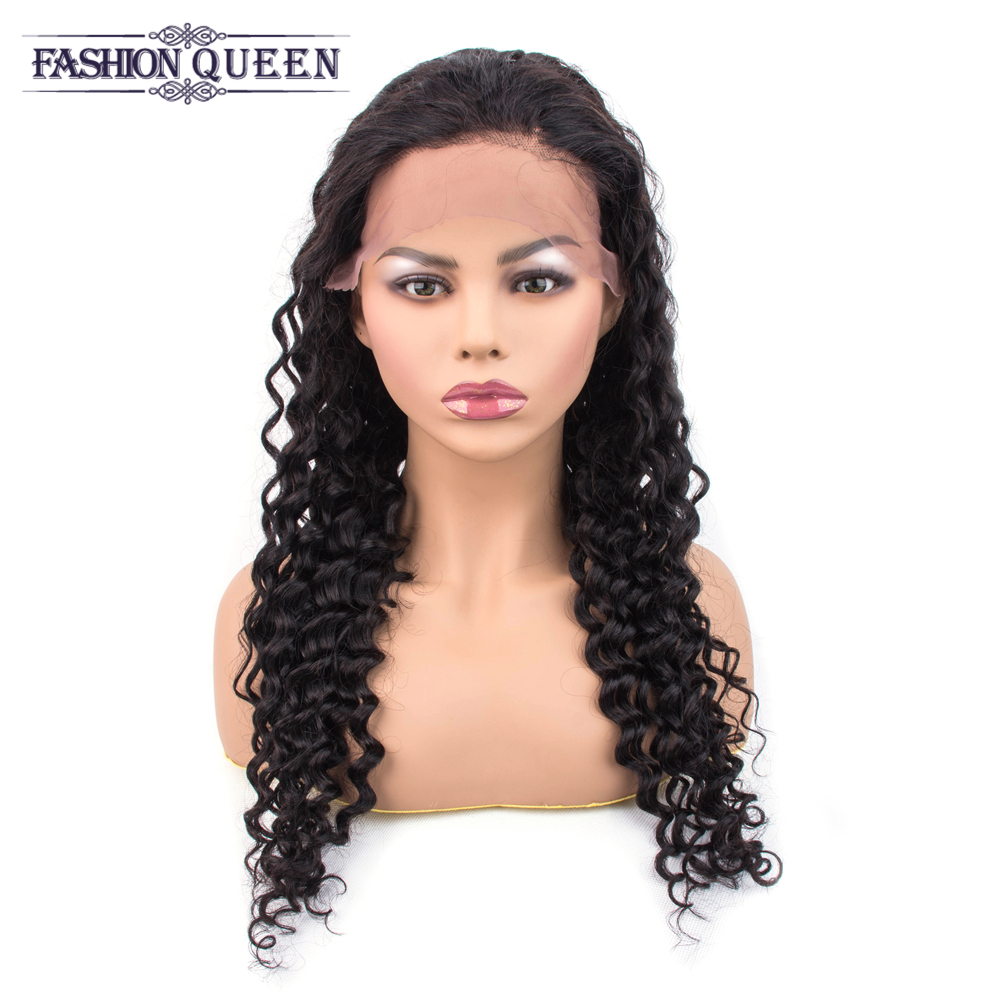Deep Wave Lace Frontal Wgs Prepluck Natural Hairline With Baby Hair 13*4 Brazilian Human Hair Wigs For Black Women Non Remy