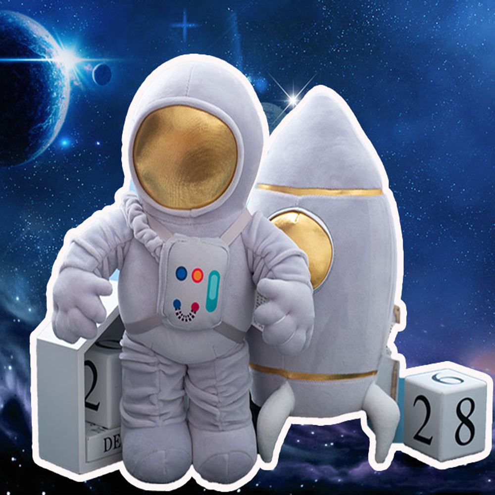 Creative Plush Spaceship Astronaut Rocket Shuttle Toys Stuffed Educational Fantasy Dolls Birthday Gifts for Boy Room Decoration