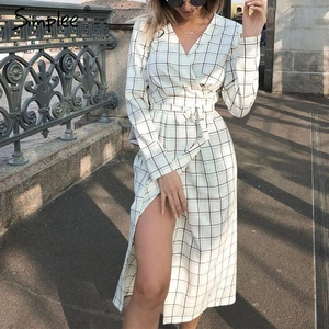 Image 3 - Simplee Elegant long sleeve plaid dress Sexy v neck strap women party dress High wiast office ladies autumn chic work dress 2019