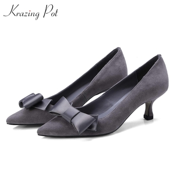 Krazing pot new sweet bowtie Princess style genuine leather ladies shoes slip on pointed toe high heels women fashion pumps L07