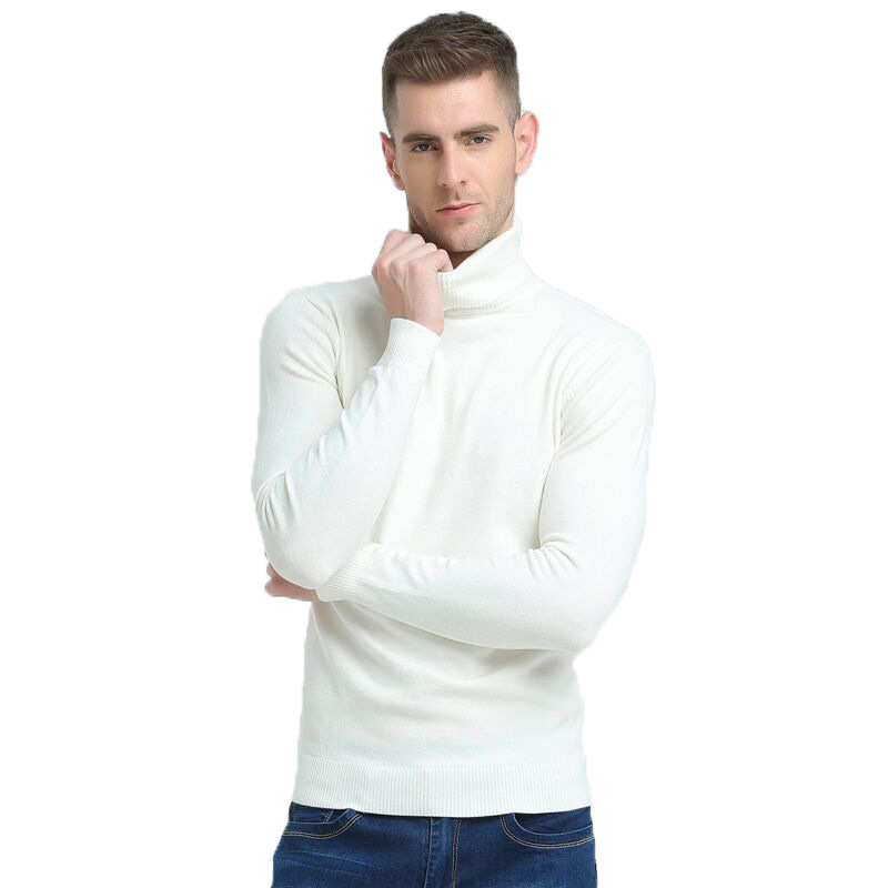 2019 New Autumn Winter Brand Sweater Men's Turtleneck Slim Pullover Solid Color Knitted Sweater Men
