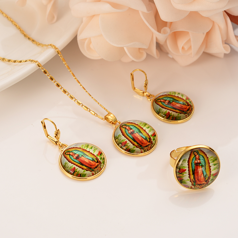 Jewelry-Set Gold Girls Women Virgin Trendy for Gift Cross-Pendant Our Religions Lady